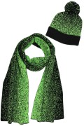 Green Mixed Media Two Tone Dot Print Hat & Scarf Set